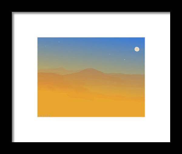 Landscape Framed Print featuring the painting Evening Haze by Margot Paisley