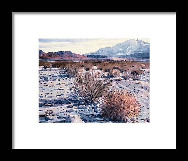 Sage Framed Print featuring the painting Evening In Death Valley by Donald Maier
