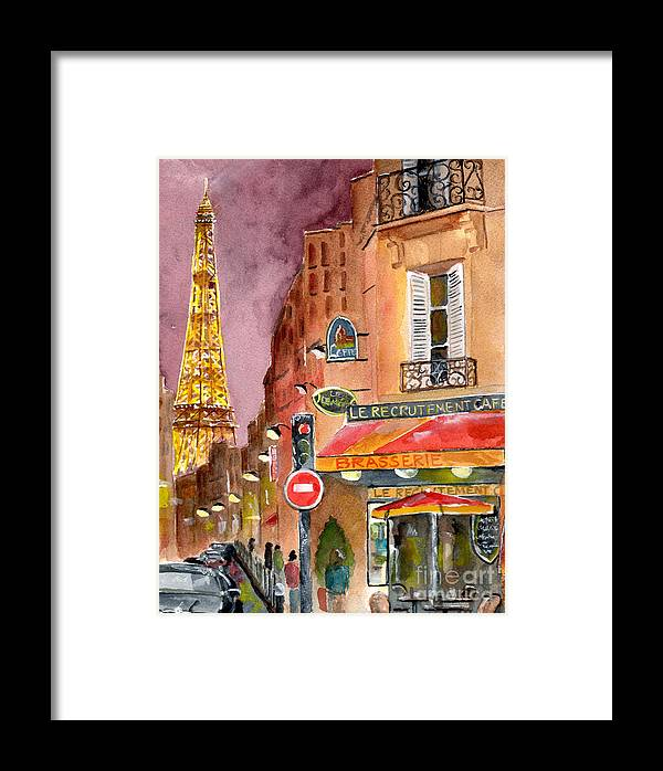 Painting Framed Print featuring the painting Evening In Paris by Sheryl Heatherly Hawkins