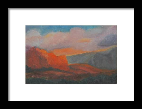 Landscape Framed Print featuring the painting Evening in Sedona by Stephanie Allison