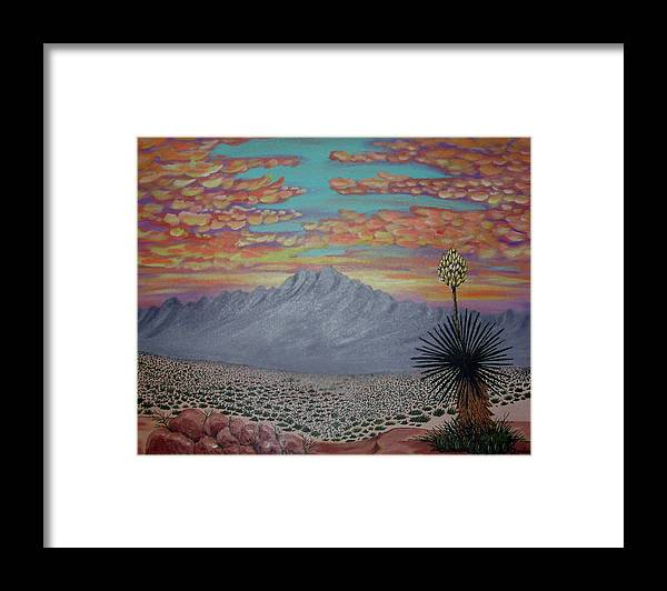 Desertscape Framed Print featuring the painting Evening In The Desert by Marco Morales