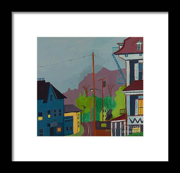 Town Framed Print featuring the painting Evening in Town Chelmsford MA by Debra Bretton Robinson
