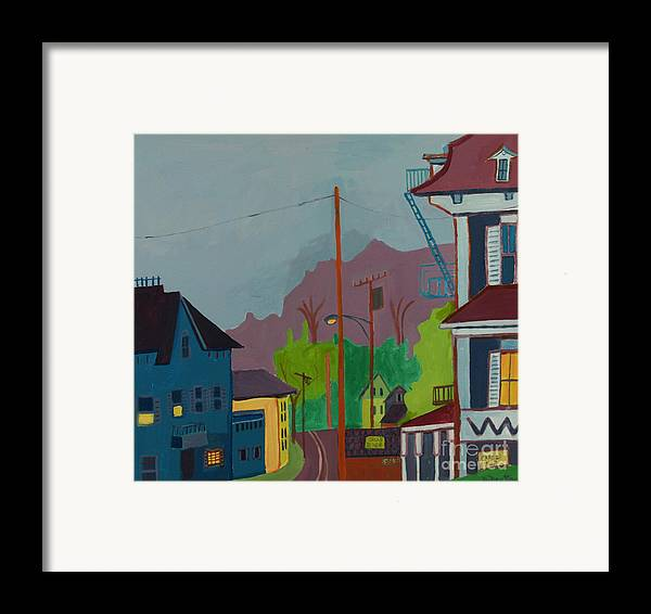 Town Framed Print featuring the painting Evening In Town by Debra Bretton Robinson