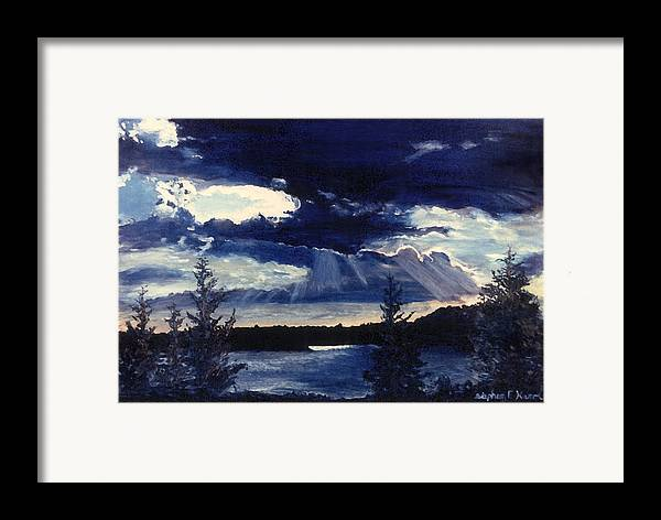Landscape Framed Print featuring the painting Evening Lake by Steve Karol