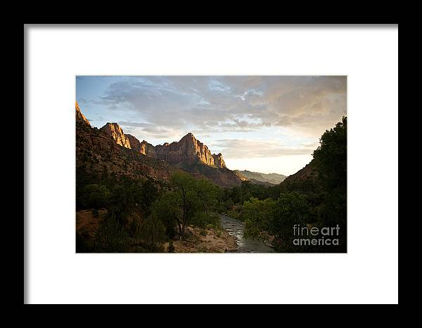 Utah Framed Print featuring the photograph Evening Light On Watchman by Carl Jackson