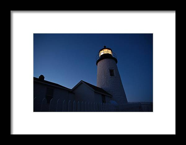 Lighthouse Framed Print featuring the photograph Evening Lighthouse Pemequid Point Me by Richard Danek