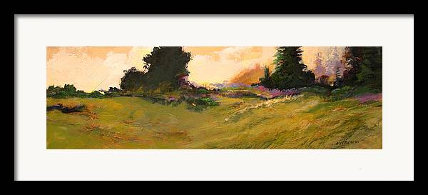 Landscape Framed Print featuring the painting Evening Meadow by Dale Witherow