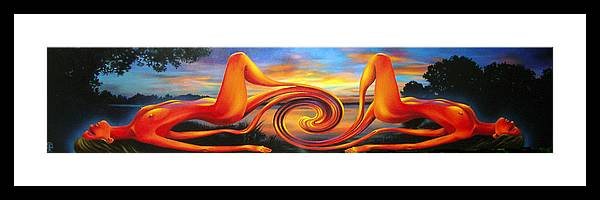 Oil Framed Print featuring the painting Evening Of Nirvana Without Makeup. by Tautvydas Davainis