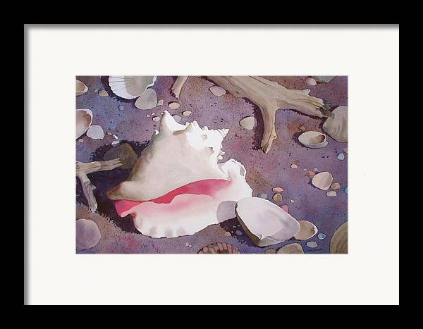 Sand Framed Print featuring the painting Evening On The Beach by Faye Ziegler