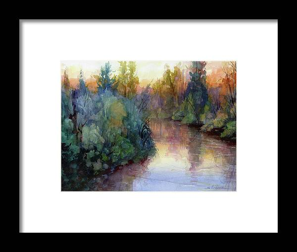Water Framed Print featuring the painting Evening On The Willamette by Steve Henderson