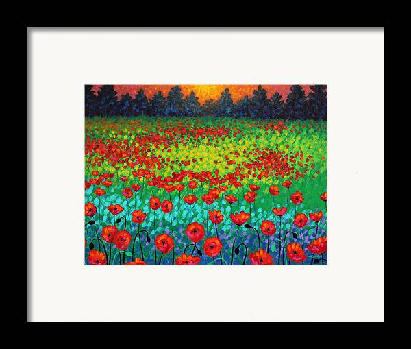 Acrylic Framed Print featuring the painting Evening Poppies by John Nolan