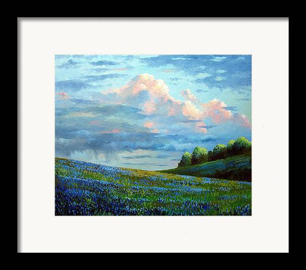 Landscape Framed Print featuring the painting Evening Rain by David G Paul