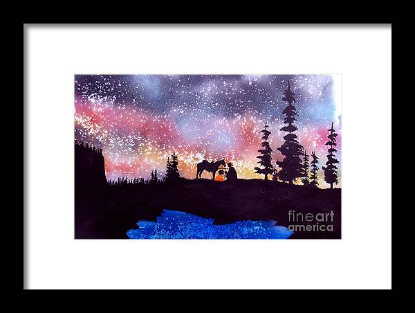 Cowboy Framed Print featuring the painting Evening Reflections by Ed Moore