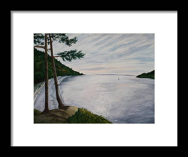 Seascape Framed Print featuring the painting Evening Sail by Monika Degan