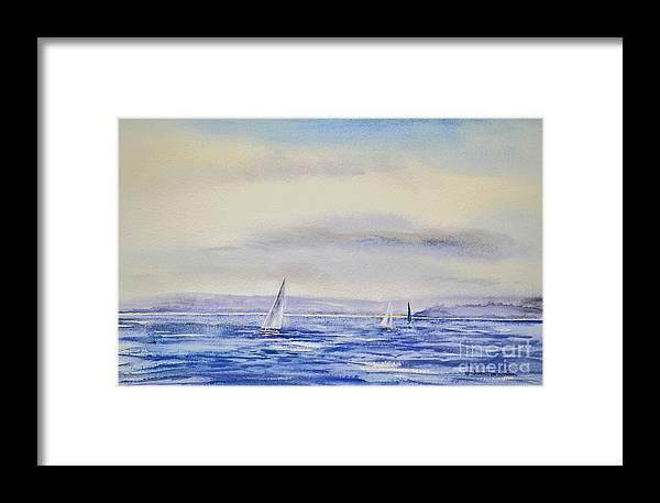 Rhode Framed Print featuring the painting Evening Sail On Little Narragansett Bay by Joan Hartenstein