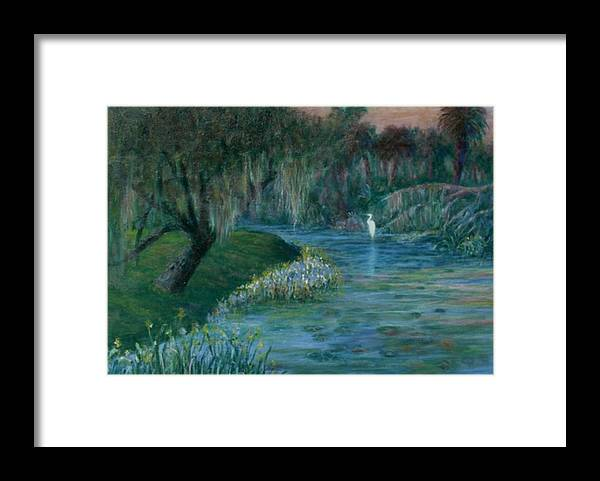 Low Country; Egrets; Lily Pads Framed Print featuring the painting Evening Shadows by Ben Kiger