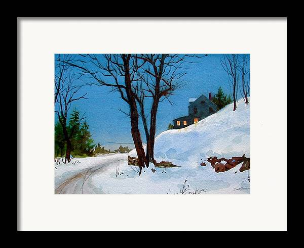 Snow Framed Print featuring the painting Evening Snow by Faye Ziegler