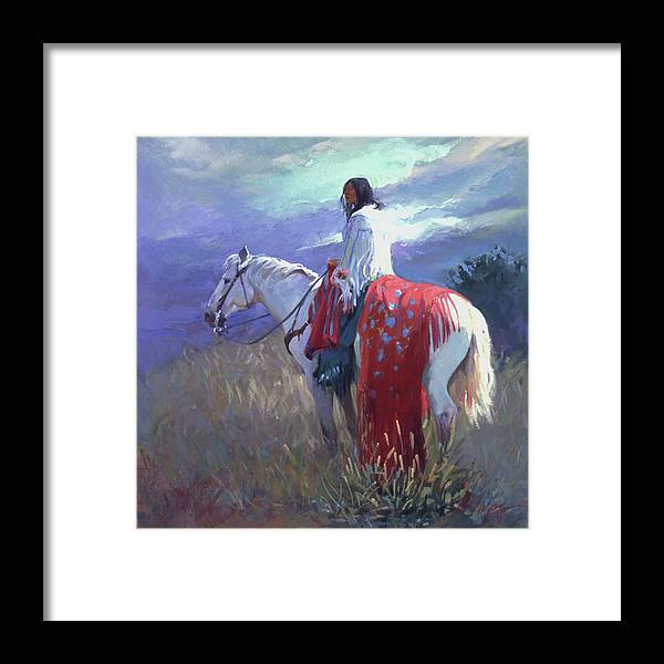 Native American Framed Print featuring the digital art Evening Solitude L. E. P. by Betty Jean Billups