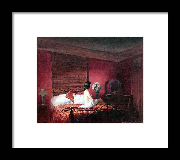 Nude Framed Print featuring the painting Evening Solitude by Tomas OMaoldomhnaigh