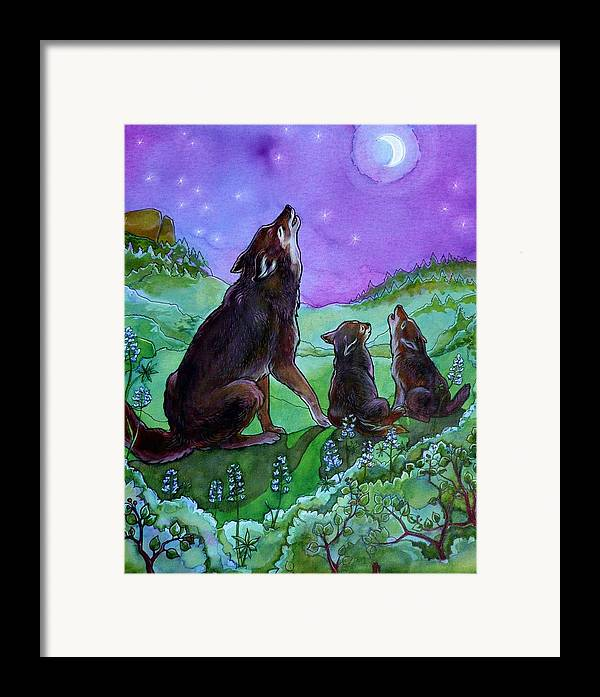 Coyote Framed Print featuring the painting Make A Joyful Noise by Jill Iversen
