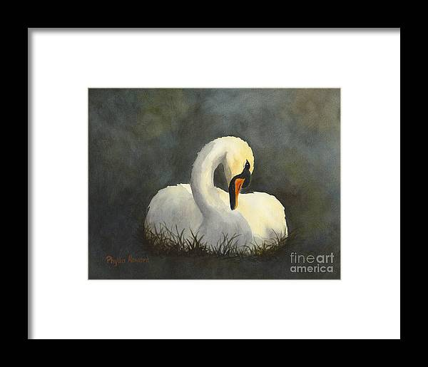 Swan Framed Print featuring the painting Evening Swan by Phyllis Howard