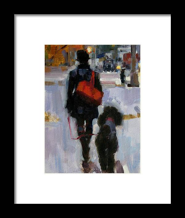 Dogs Framed Print featuring the painting Evening Walk by Merle Keller