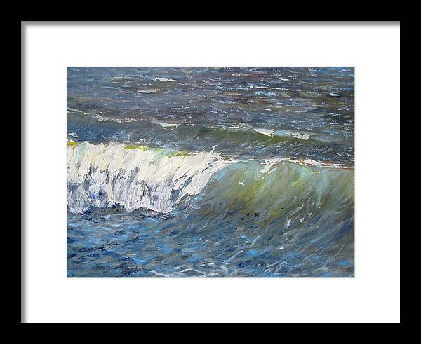 Seascape Framed Print featuring the painting Evening Wave by Thomas Glass Phinnessee