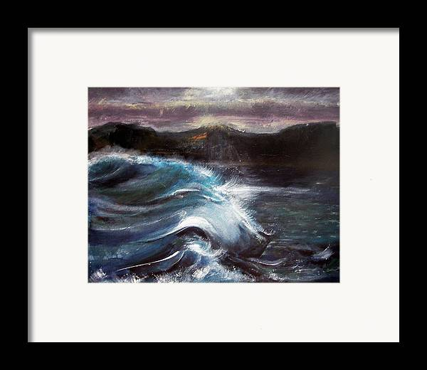 Waves Framed Print featuring the painting Evening Wave by Valerie Wolf