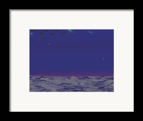 Late Evening.violet Dark Sky.rest.little Stars.last Ray Of Sun.sea.waves.silence. Birds.quiet. Framed Print featuring the digital art Evening.birds by Dr Loifer Vladimir