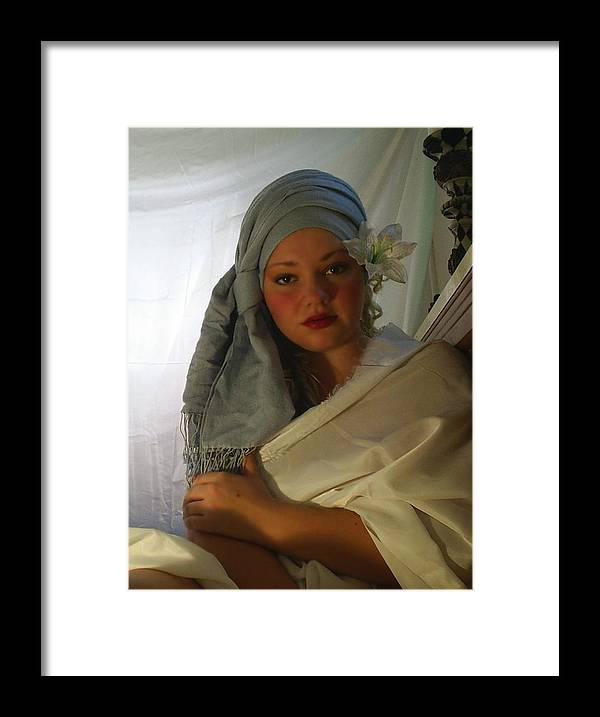 Woman Framed Print featuring the photograph Evenings Thoughts by Scarlett Royal