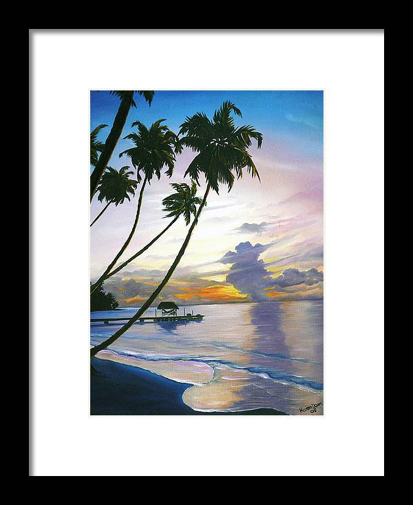 Ocean Painting Seascape Painting Beach Painting Sunset Painting Tropical Painting Tropical Painting Palm Tree Painting Tobago Painting Caribbean Painting Original Oil Of The Sun Setting Over Pigeon Point Tobago Framed Print featuring the painting Eventide Tobago by Karin Dawn Kelshall- Best