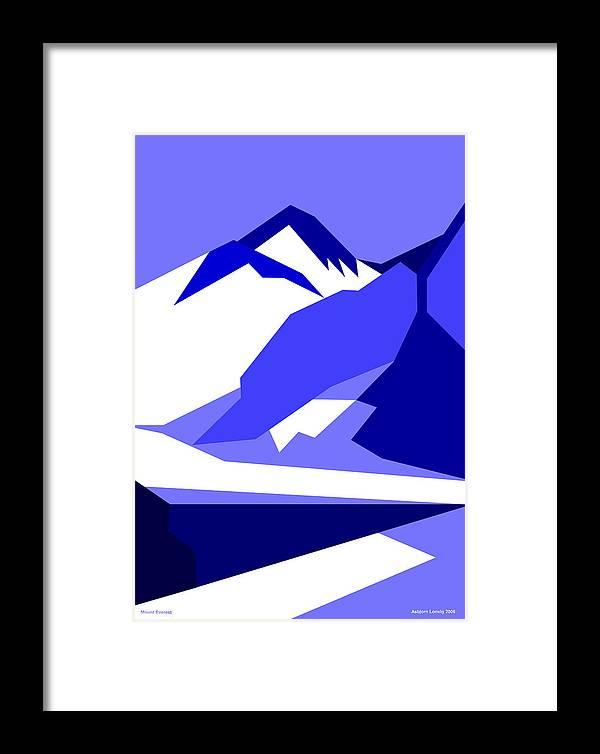 Everest Framed Print featuring the digital art Everest Blue by Asbjorn Lonvig