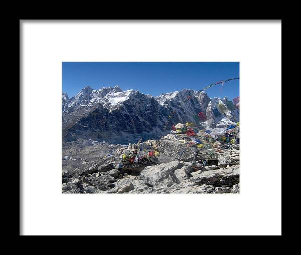 Nepal Framed Print featuring the photograph Everest Prayer Flags by Chris Bradley