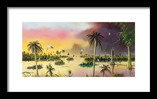 Landscape Framed Print featuring the painting Everglades by Don Griffiths