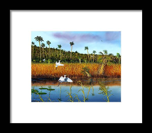 Landscape Framed Print featuring the painting Everglades Sanctuary by Don Griffiths