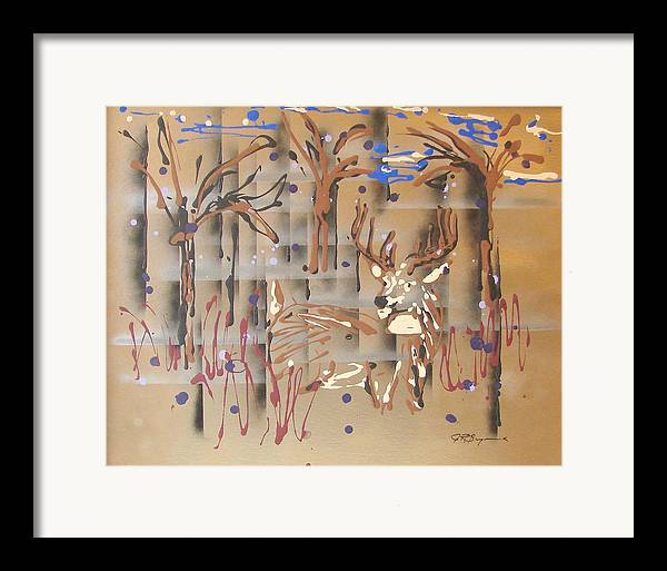 Buck In Tree Line Framed Print featuring the painting Everwatchful by J R Seymour