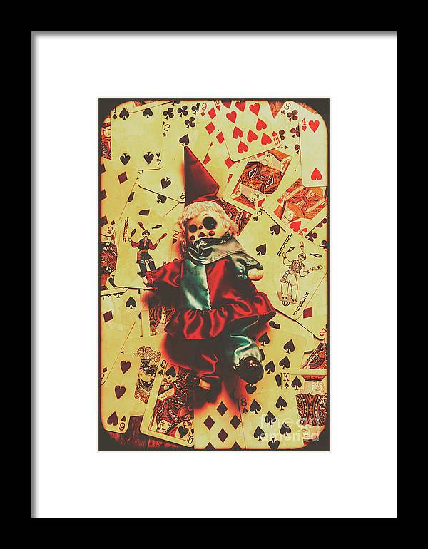Evil Clown Doll On Playing Cards Framed Print by Jorgo Photography ...