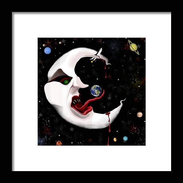 Moon Framed Print featuring the digital art Evil Moon by Ruben Flanagan