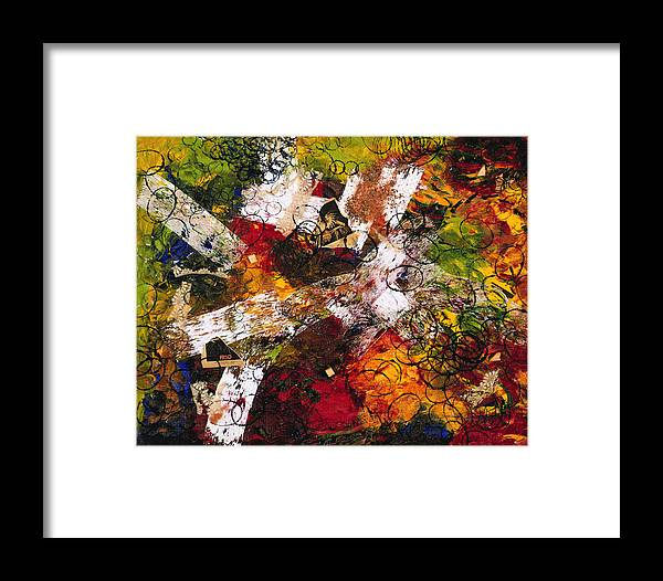 Abstract Framed Print featuring the painting Evocation by Dominique Boutaud