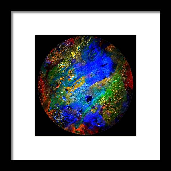 Gemstones Framed Print featuring the painting Evolution Series 1005-round by Dina Sierra