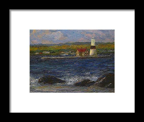 Lighthouse Framed Print featuring the painting Execution Lighthouse by Tom Forgione