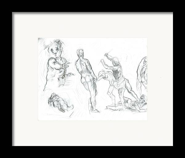 Framed Print featuring the drawing Exercise by Joseph Arico