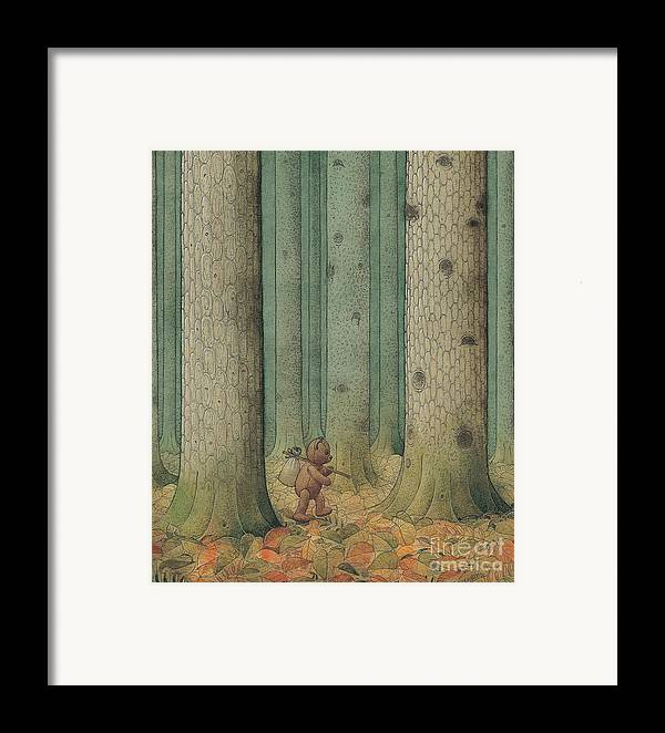 Teddybear Autumn Forest Fairy Tale Tree Melancholic Framed Print featuring the painting Exile by Kestutis Kasparavicius