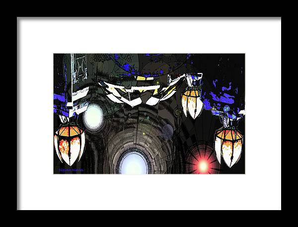 Abstract Framed Print featuring the digital art Exiting The Mother Ship by DigiArt Diaries by Vicky B Fuller