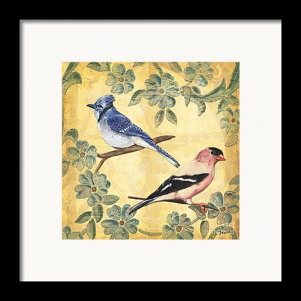 Birds Framed Print featuring the painting Exotic Bird Floral And Vine 1 by Debbie DeWitt