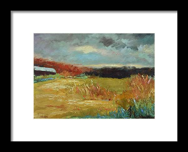 Stormy Landscapes Framed Print featuring the painting Expecting A Storm by Ginger Concepcion