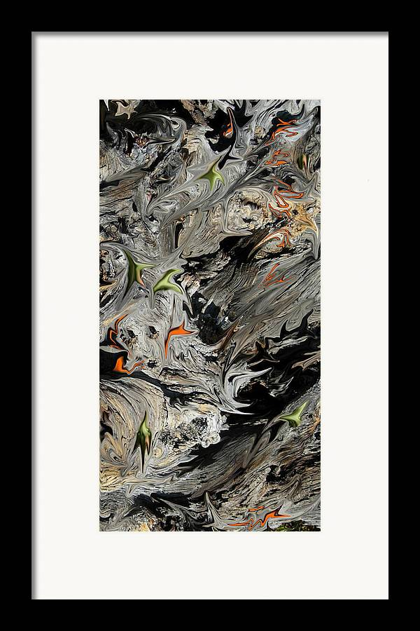Abstract Framed Print featuring the digital art Experiment In Turmoil by Stephanie H Johnson
