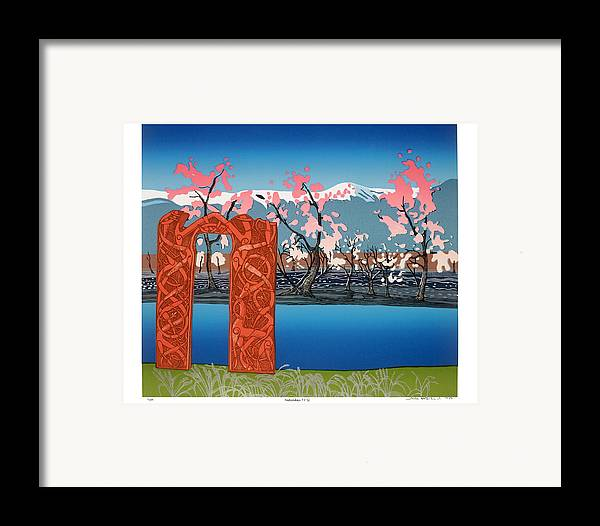 Landscape Framed Print featuring the mixed media Exploration. by Jarle Rosseland