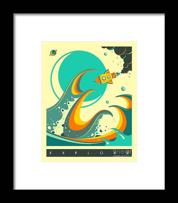 Retro Framed Print featuring the digital art Explore 1 by Jazzberry Blue