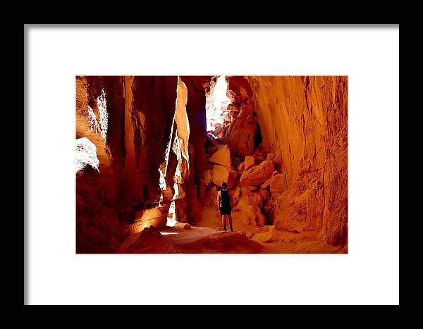 Framed Print featuring the digital art Exploring A Cave by Paras Wadehra